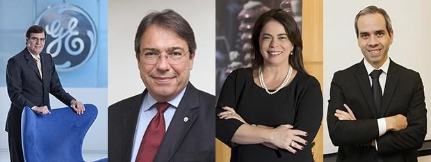 Gilberto Peralta, CEO da GE do Brasil; Wilson Ferreira Jr. CEO da Eletrobras; Solange Ribeiro, CEO do Grupo Neoenergia; Raul Cadena, CFO da Votorantim Energia (Foto: GE)